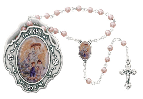 Guardian Angel Baby Medal with Pink Rosary