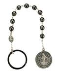 St. Benedict Medal Hematite w/ Pocket Rosary
