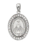 "Miraculous Medal Sterling Silver with Crystal Stones and 18"" Rhodium Plated Chain"
