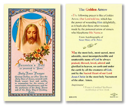 Laminated Holy Card Veronica's Veil The Golden Arrow - 25 Pcs. Per Package