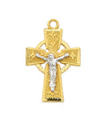 "Two-Tone Celtic Crucifix Gold Over Sterling Silver w/ 18"" Gold Plated Chain"