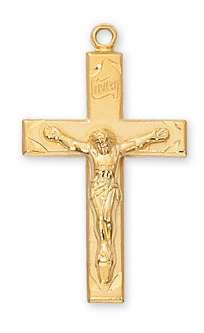 "Crucifix Gold Over Sterling Silver w/ 24"" Gold Plated Chain"