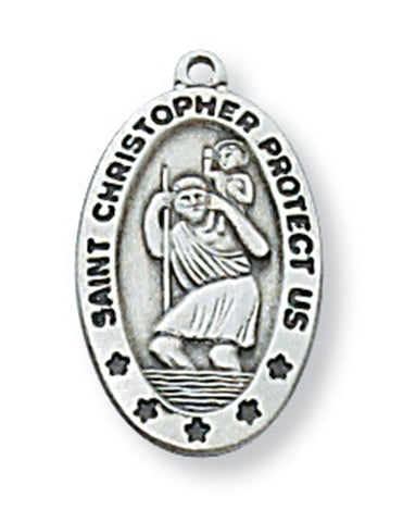 "St. Christopher Medal Sterling Silver with 18"" Rhodium Plated Chain"