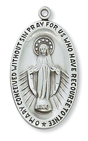 "Miraculous Medal Sterling Silver with 24"" Rhodium Plated Chain"