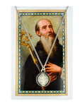 "St. Benedict Black Enameled Pewter Medal w/ 18"" Silver Tone Chain and Laminated Holy Card"