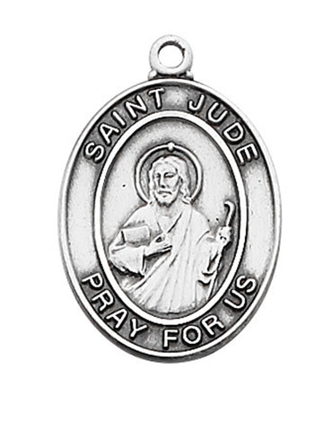 "St. Jude Medal Engravable Sterling Silver w/ 18"" Rhodium Plated Chain"