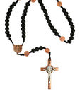 St. Benedict Crucifix and Center in 7mm Black Wood Beads w/ Copper