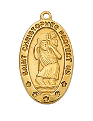 "St. Christopher Medal Gold Over Sterling Silver with 18"" Gold Plated Chain"