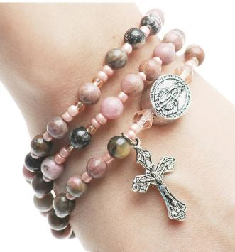 Rhondonite Gemstone Twistable Full Rosary Wrap Bracelet