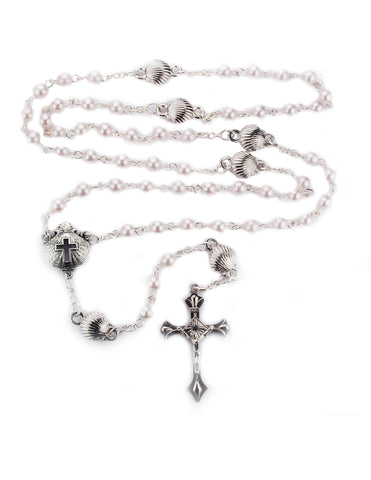 Silver Ox Baptism Shell w/ Pink Pearl Beads Rosary