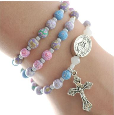 Multi Color Clay Twistable Full Rosary Bracelet