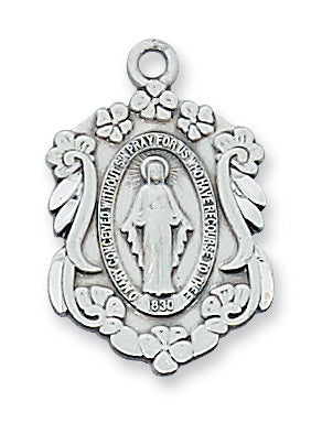 "Miraculous Medal Sterling Silver with 18"" Rhodium Plated Chain"