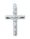 "Crucifix Sterling Silver w/ 24"" Rhodium Plated Chain"
