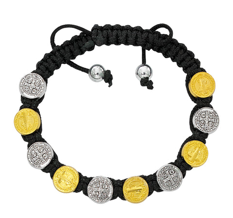 St. Benedict Silver and Gold Medal w/ Black Corded Bracelet