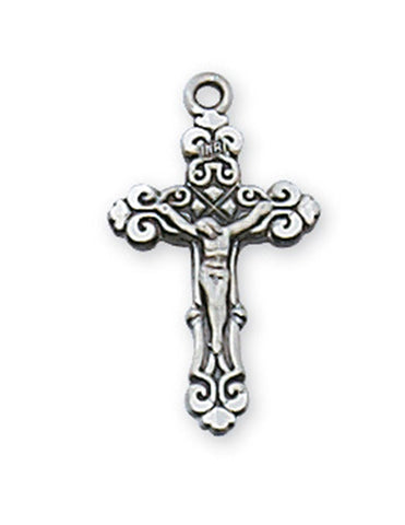 "Crucifix Baby Sterling Silver w/ 13"" Rhodium Plated Chain"
