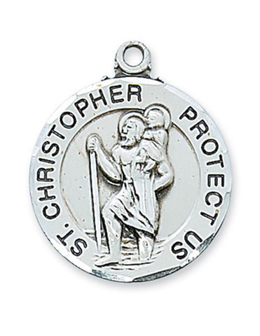 "St. Christopher Medal Sterling Silver with 24"" Rhodium Plated Chain"