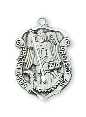 "Patron St. Michael Medal Sterling Silver w/ 18"" Rhodium Plated Chain"