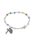 4mm Tin Cut Crystal Beads Rhodium Plated Crucifix Multi Color Bracelet and Miraculous Medal