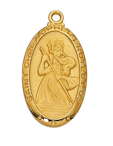 "St. Christopher Medal Gold Over Sterling Silver with 24"" Gold Plated Chain"