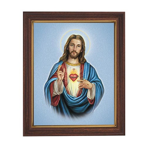 Sacred Heart Of Jesus Framed Print in Wood Tone
