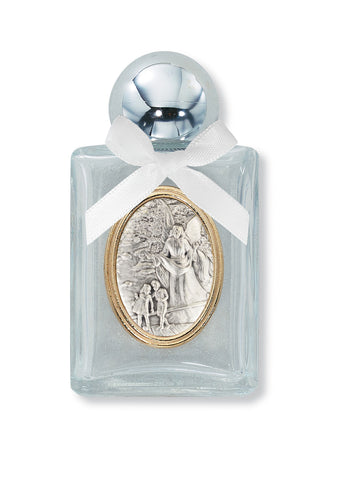 Silver Plated Engravable Guardian Angel Glass Water Bottle w/ White Bow