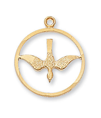 "Holy Spirit Medal Sterling Silver w/ 18"" Gold Plated Brass Chain"