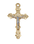 "Two-Tone Crucifix Gold Over Sterling Silver w/ 24"" Gold Plated Chain"