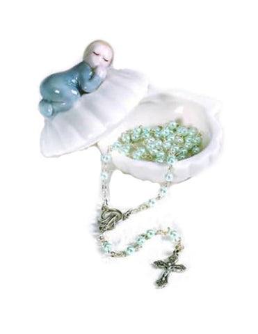 Porcelain Baby Keepsake Box with Rosary in Clam Shell - Boy