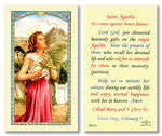 Laminated Holy Card St. Agatha Patroness Against Breast Diseases - 25 Pcs. Per Package