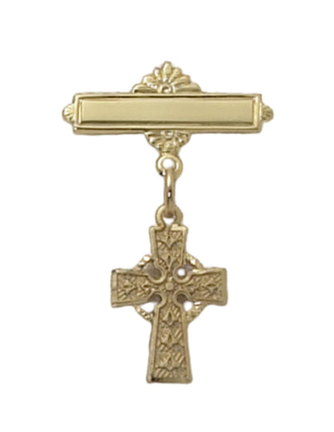 Gold Over Sterling Silver Cross Baby Pin w/ Burgundy Flip Gift Box