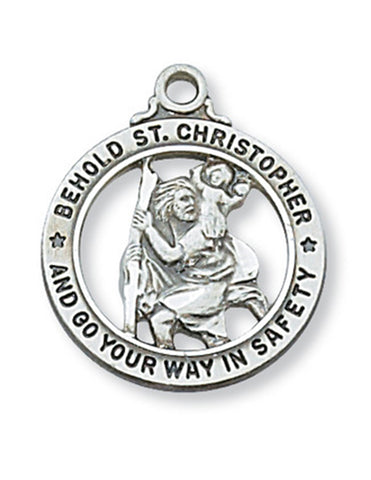 "St. Christopher Medal Sterling Silver with 20"" Rhodium Plated Chain"