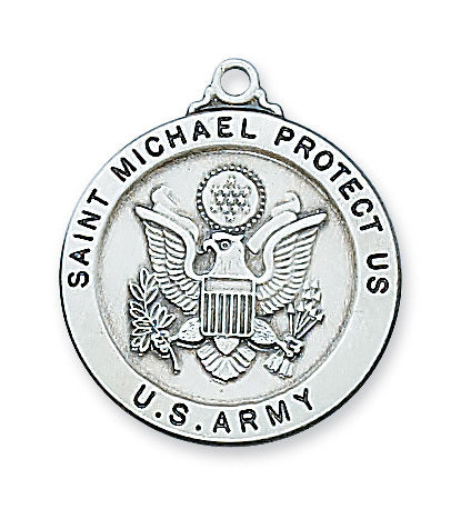 "Patron St. Michael Army Medal Engravable Sterling Silver w/ 24"" Rhodium Plated Chain"