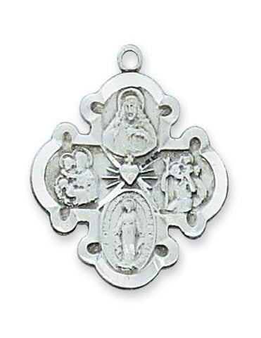 "4-Way Medal Sterling Silver w/ 20"" Rhodium Plated Brass Chain"