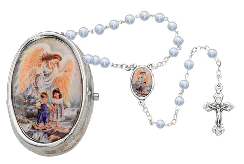 Guardian Angel Baby Medal with Blue Rosary