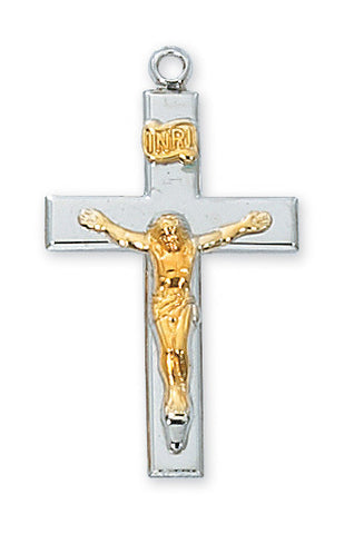 "Two-Tone Crucifix Sterling Silver w/ 18"" Rhodium Plated Chain"