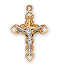 "Two-Tone Crucifix Gold Over Sterling Silver w/ 16"" Gold Plated Chain"