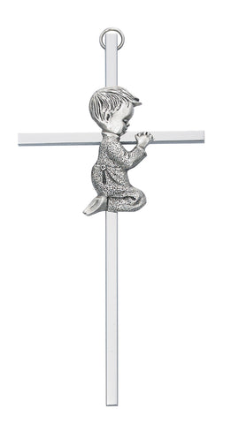 "6"" Aluminum Cross Ant Silver Praying Boy w/ Gift Box"