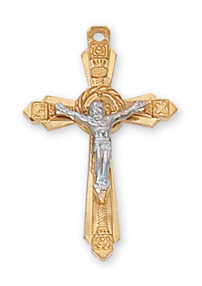 "Two-Tone Crucifix Gold Over Sterling Silver w/ 18"" Gold Plated Chain"