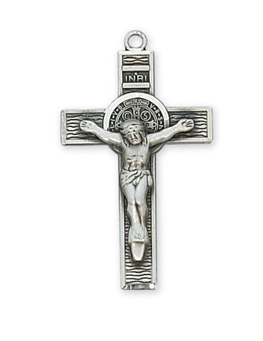 "St. Benedict Sterling Silver Coin in Crucifix with 18"" Rhodium Plated Chain"