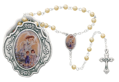 Guardian Angel Baby Medal with Pearl Rosary