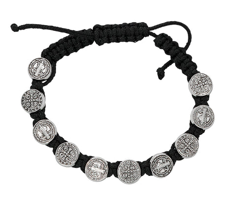St. Benedict Bracelet Adjusted Black Corded and Carded