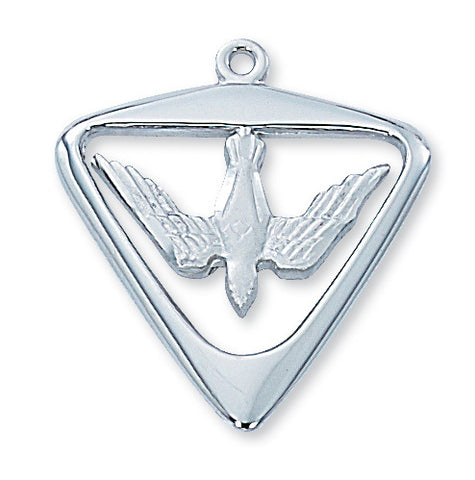 "Holy Spirit Medal Sterling Silver w/ 24"" Rhodium Plated Brass Chain"