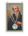 St. Benedict Pewter Medal w/ 24 Silver Tone Chain and Laminated Holy Card
