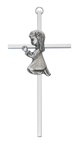 "6"" Aluminum Cross Ant Silver Praying Girl w/ Gift Box"