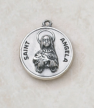 "Sterling Patron Saint Angela Medal w/ 18"" Chain"