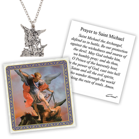 Devotional Medal With Chain - St Michael, 12 pcs