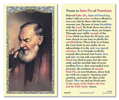 Laminated Holy Card St. Pio - 25 Pcs. Per Package