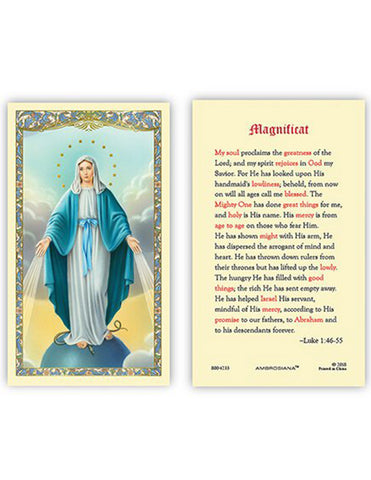 Laminated Holy Card Our Lady Of Grace Magnificat - 25 Pcs. Per Package