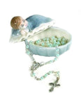 Porcelain Baby Keepsake Box with Rosary in Clam Shell - Checkered Blanket Boy