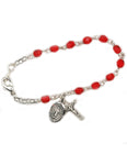 4mm Glass Beads Rhodium Plated Crucifix Ruby Bracelet and Miraculous Medal